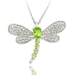 Dolce Giavonna Sterling Silver Peridot and Diamond Accent Dragonfly Necklace