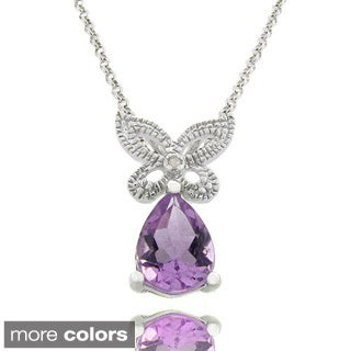 Dolce Giavonna Sterling Silver Gemstone and Diamond Accent Butterfly Necklace