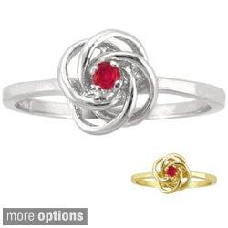 10k Gold Birthstone Designer Love Knot Ring