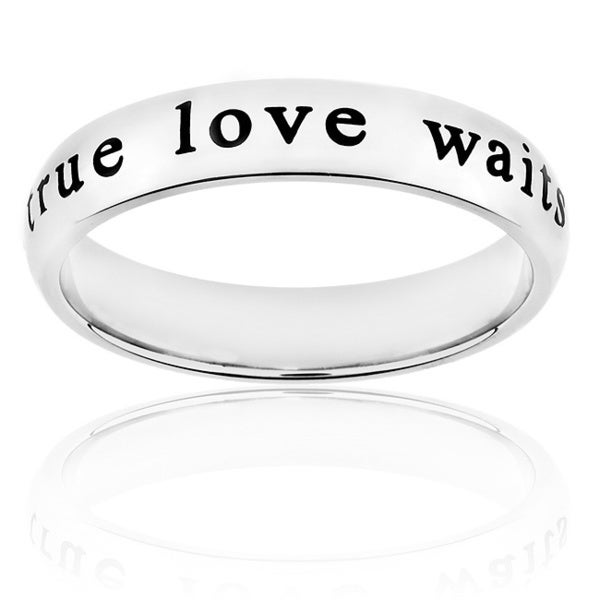 ELYA Stainless-Steel Laser-Engraved 'True Love Waits' Ring