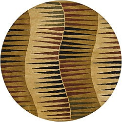 "Hand-Knotted Mandara Gold New Zealand Wool Rug with Geometric Pattern (7'9"" Round)"