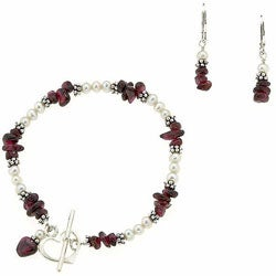 Misha Curtis Sterling Silver Garnet and Pearl Bracelet and Earr