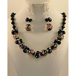 Murano Inspired Glass Marble and Crystal Cluster Jewelry Set