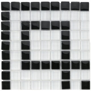 SomerTile 6x6-in Reflections Greek Key 0.5-in Ice White Corner Glass Mosaic Tile (Pack of 4)