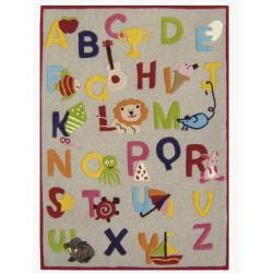 nuLOOM Hand-carved Kids Alphabets and Letters Beige Wool Rug (5' x 7')