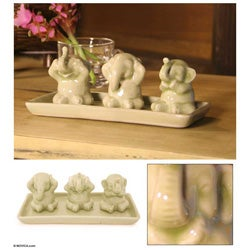 Set of 3 Celadon Ceramic 'Elephant Life Lessons' Figurines (Thailand)