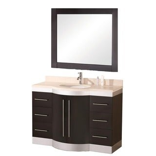 Design Element Tuscany Single Sink Beige Stone Bathroom Vanity- with faucet