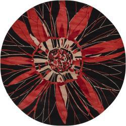 "Hand-Tufted Mandara Black Floral New Zealand Wool Rug (7'9"" Round)"