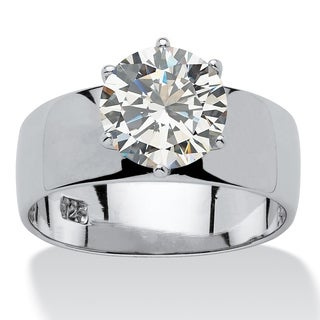 PalmBeach 4 TCW Round Cubic Zirconia Solitaire Engagement Ring in Sterling Silver Glam CZ