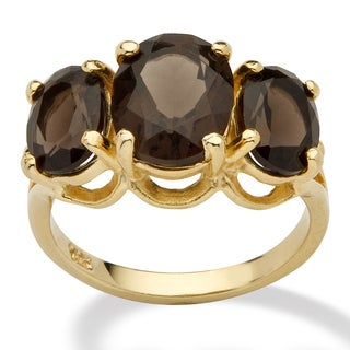 PalmBeach 4.90 TCW Oval Cut Genuine Smoky Quartz 14k Yellow Gold over Sterling Silver 3-Stone Ring