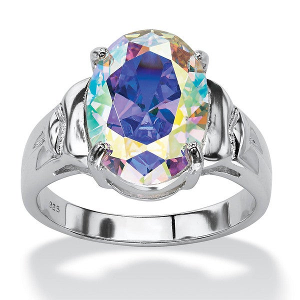 PalmBeach 5.81 TCW Oval-Cut Aurora Borealis Cubic Zirconia Cocktail Ring in Sterling Silver Color Fun
