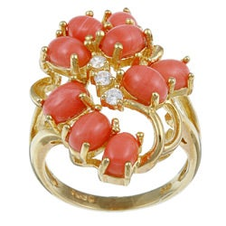 PalmBeach 18k Gold over Sterling Silver Coral and Cubic Zirconia Cluster Ring Naturalist