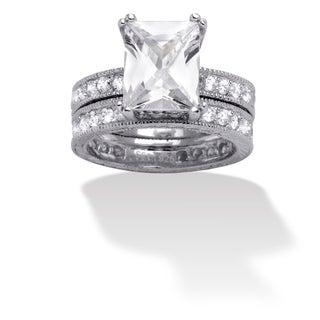 PalmBeach CZ Sterling Silver Emerald-cut Cubic Zirconia Bridal Ring Set Glam CZ