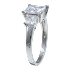 PalmBeach CZ Platinum over Sterling Silver Square-cut Cubic Zirconia 3-stone Ring Classic CZ