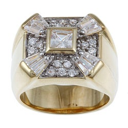 PalmBeach CZ 18k Gold over Sterling Silver Men's Cubic Zirconia Ring