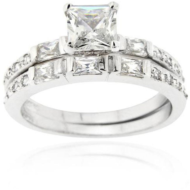 icz stonez sterling silver square cut cubic zirconia