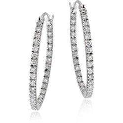 Icz Stonez Sterling Silver Inside-out Cubic Zirconia Oval Hoop Earrings