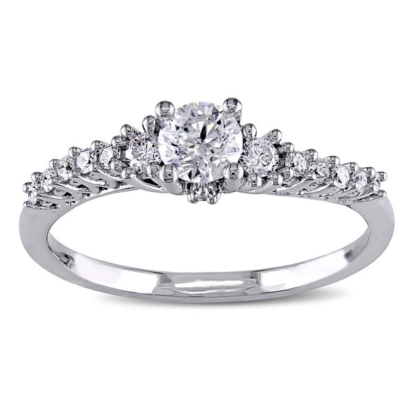 Miadora 14k White Gold 1/2ct TDW Diamond Engagement Ring (G-H, I2-I3)