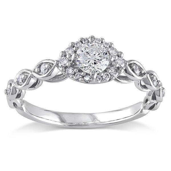 Miadora 1/2 CT Diamond TW Fashion Ring 10k White Gold GH I2;I3