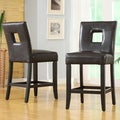 ETHAN HOME Mendoza Brown Keyhole Counter Height Stool (Set of 2)