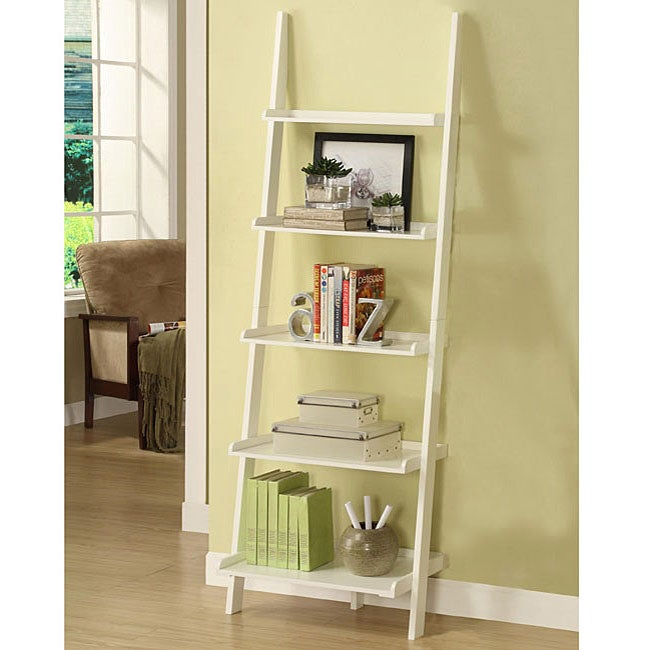 White Five tier Leaning Ladder Shelf Overstock Shopping