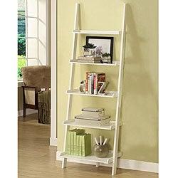 White Five-tier Leaning Ladder Shelf