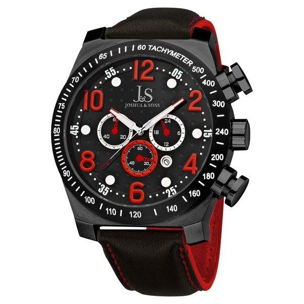 Joshua & Sons Men's Oversized Chronograph Stainless Steel Sport Watch