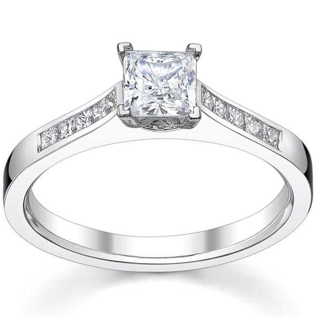 14k White gold 1 1/3ct TDW Diamond Princess-cut Engagement Ring (H-I, SI1-SI2)