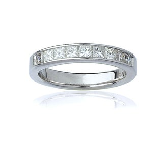 14k White Gold Women's 1ct TDW Certified Princess-Cut Diamond Channel Wedding Band(G-H, SI3-I1)