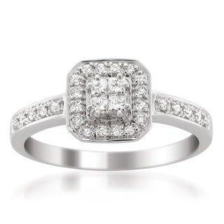 14k White Gold 1/3ct TDW Princess Cut Diamond Composite Engagement Ring (H-I, I1-I2)