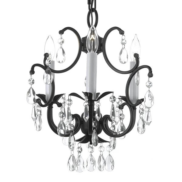 Gallery Versailles 3-light Black Crystal Mini Chandelier