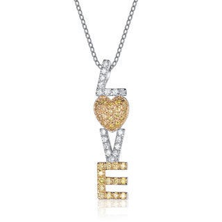Collette Z 14k Gold over Sterling Silver Cubic Zirconia 'Love You' Necklace