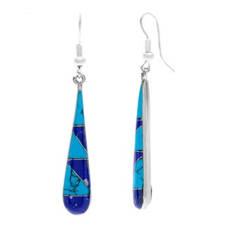 Silver Turquoise 'Too Blue' Teardrop Earrings (Mexico)