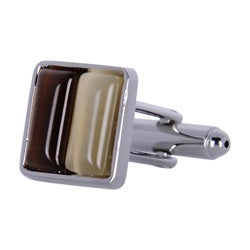 Cuff Daddy Metal Brown and Yellow Square Glass Cuff Links