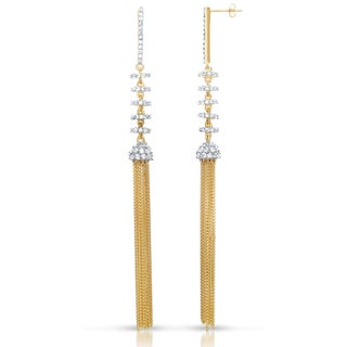 Collette Z 14k Gold over Silver Clear Cubic Zirconia Fringe Earrings