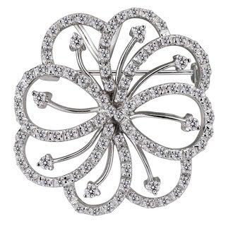 Collette Z Sterling Silver Clear Cubic Zirconia Flower Brooch
