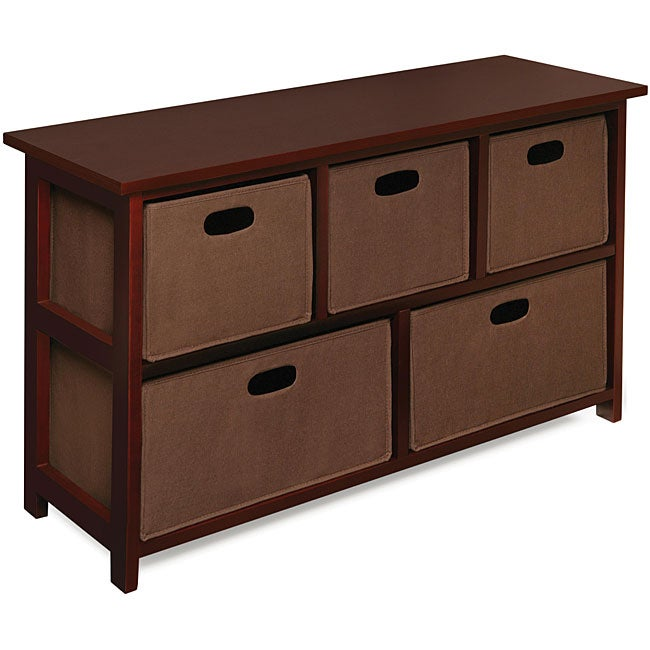 Wooden Cherry Storage Cabinet With Baskets Overstock Shopping Big Discounts On Badger Basket