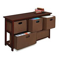 Wooden Cherry Storage Cabinet with Baskets