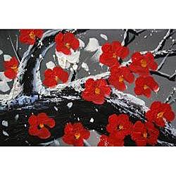 'Winter Plum' 5-piece Oil Hand Painted Canvas Art Set