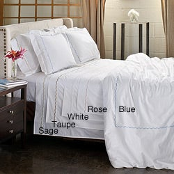 Scallop Embroidery 300 Thread Count Cotton Percale 3-piece Duvet Cover Set