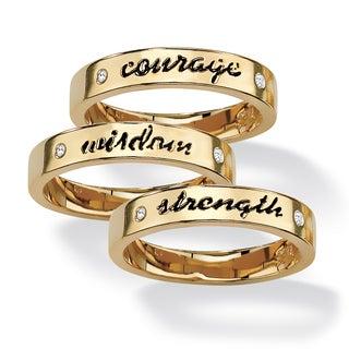 PalmBeach 14k Gold Overlay 3-piece Inspirational Ring Set Tailored