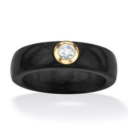 PalmBeach 10k Yellow Gold Black Jade and White Topaz Ring Naturalist