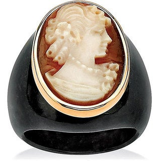 PalmBeach 10k Yellow Gold Onyx Cameo Ring Naturalist