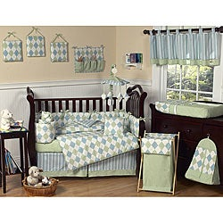 Sweet Jojo Designs Blue and Green Argyle 9-piece Crib Bedding Set
