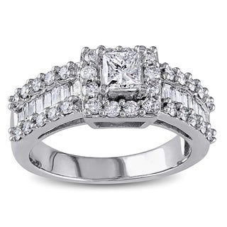 Miadora 14k White Gold 1 3/8ct TDW Princess and Baguette Diamond Ring (G-H, I1-I2)