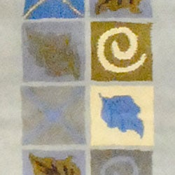 Indo Hand-tufted Leaf Print Beige/ Blue Wool Rug (2' x 3')
