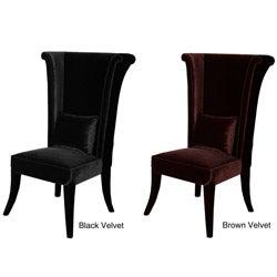 Safavieh Deco Bacall Velvet Dark Minky Grey Side Chair