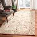 Hand-made Oushak Ivory/ Grey Hand-spun Wool Rug (9&#39; x 12&#39;)