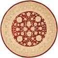 Handmade Ancestry Red/ Green Wool Rug (8&#39; Round)