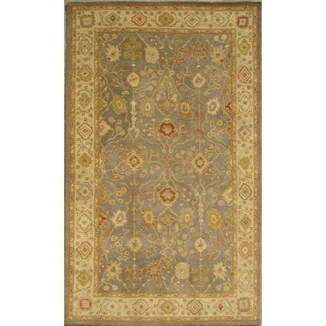 Safavieh Handmade Oushak Slate Blue/ Ivory Wool Rug (5' x 8')